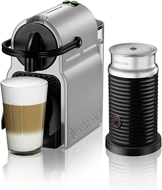 Nespresso by DeLonghi EN80SAE Original Espresso Machine Bundle with Aeroccino Milk Frother by DeLonghi, Medium, Silver