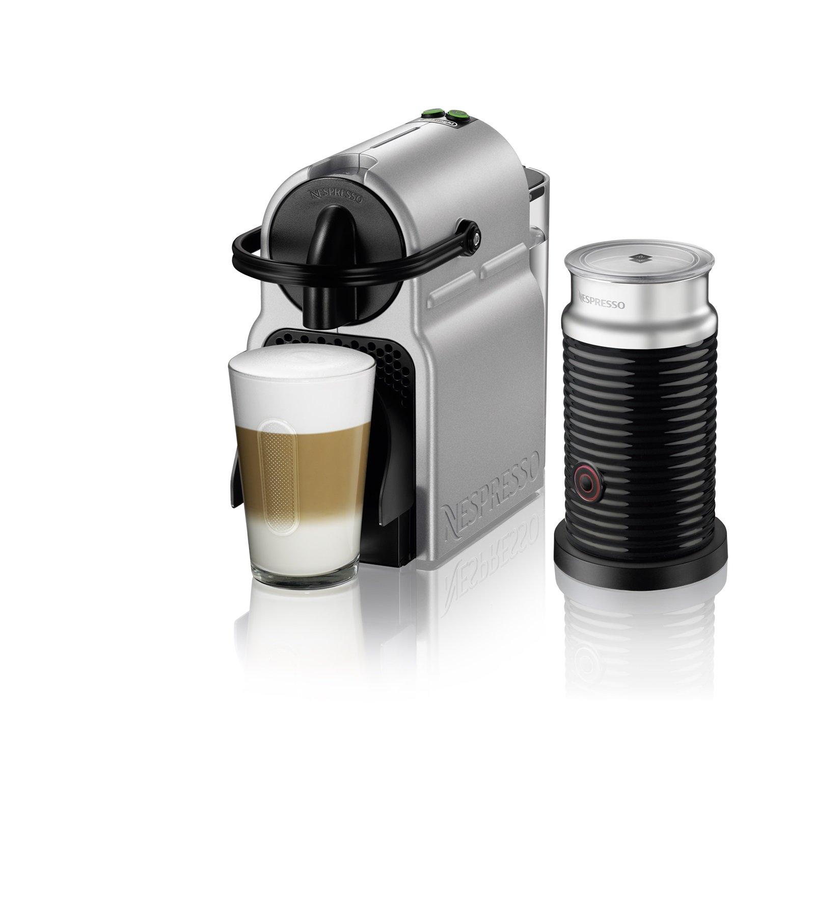 Nespresso EN80SAE  Original Espresso Machine Bundle with Aeroccino Milk Frother by De'Longhi, Medium, Silver by Nestle Nespresso