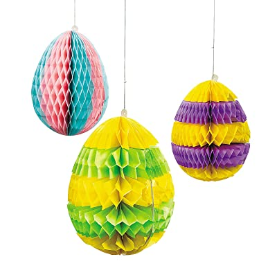 Fun Express - Silhouette Tissue Egg Hanging Decor for Easter - Party Decor - Hanging Decor - Lanterns - Easter - 3 Pieces: Toys & Games