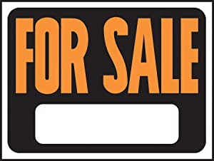 """Hy-Ko Products 3006 For Sale Plastic Sign 8.5"""" x 12"""" Orange/Black, 1 Piece"""