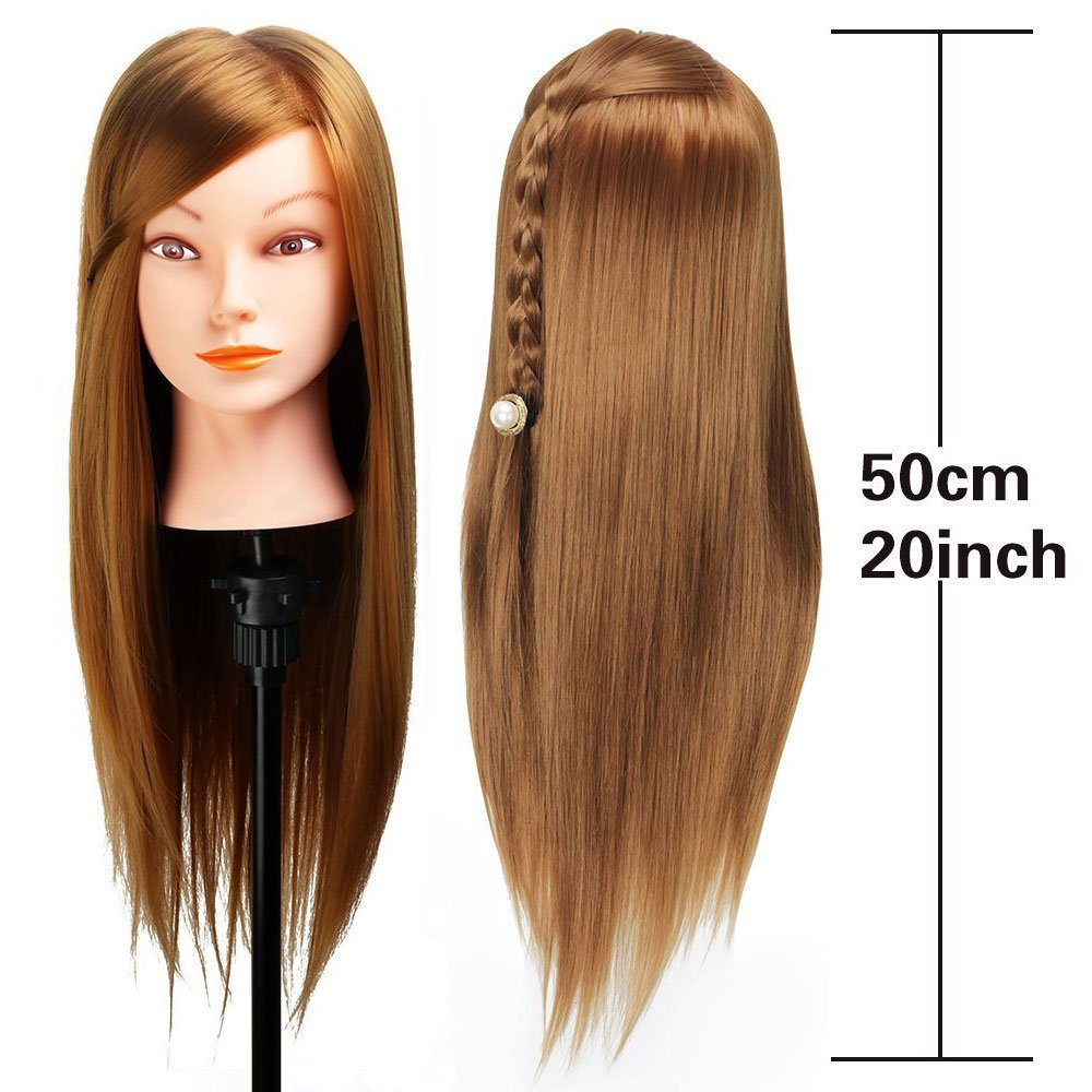 Mannequin Head, Beauty Star 20 Inch Long Gold Hair Cosmetology Mannequin Manikin Training Head Model Hairdressing Styling Practice Training Doll Heads with Clamp and Accessories by Beautystar (Image #2)