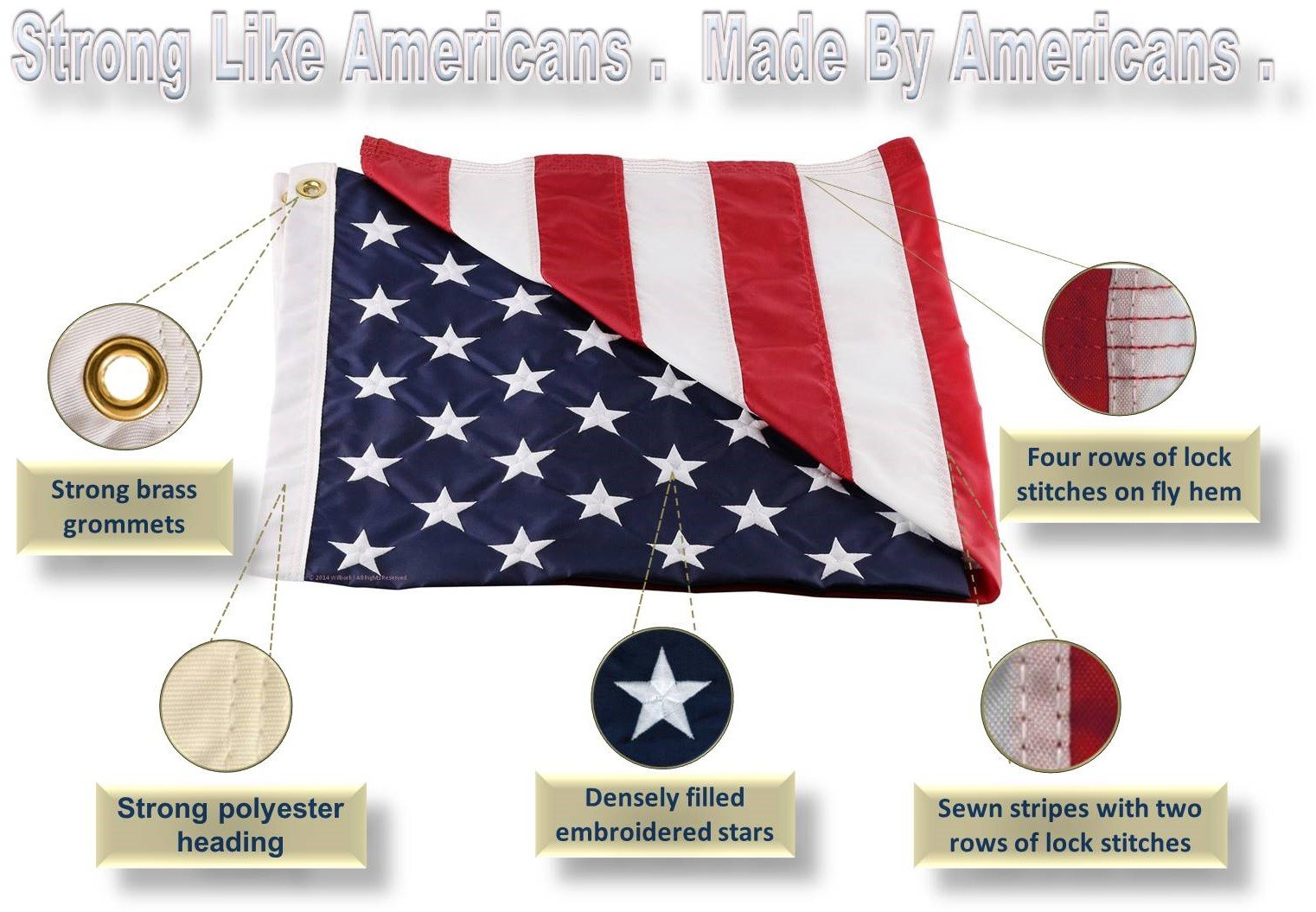Wilbork American Flag - 100% Made in USA - Strong Like Americans Made by Americans: Embroidered Stars - Sewn Stripes 6x10 ft Outdoor Flag by Wilbork (Image #2)