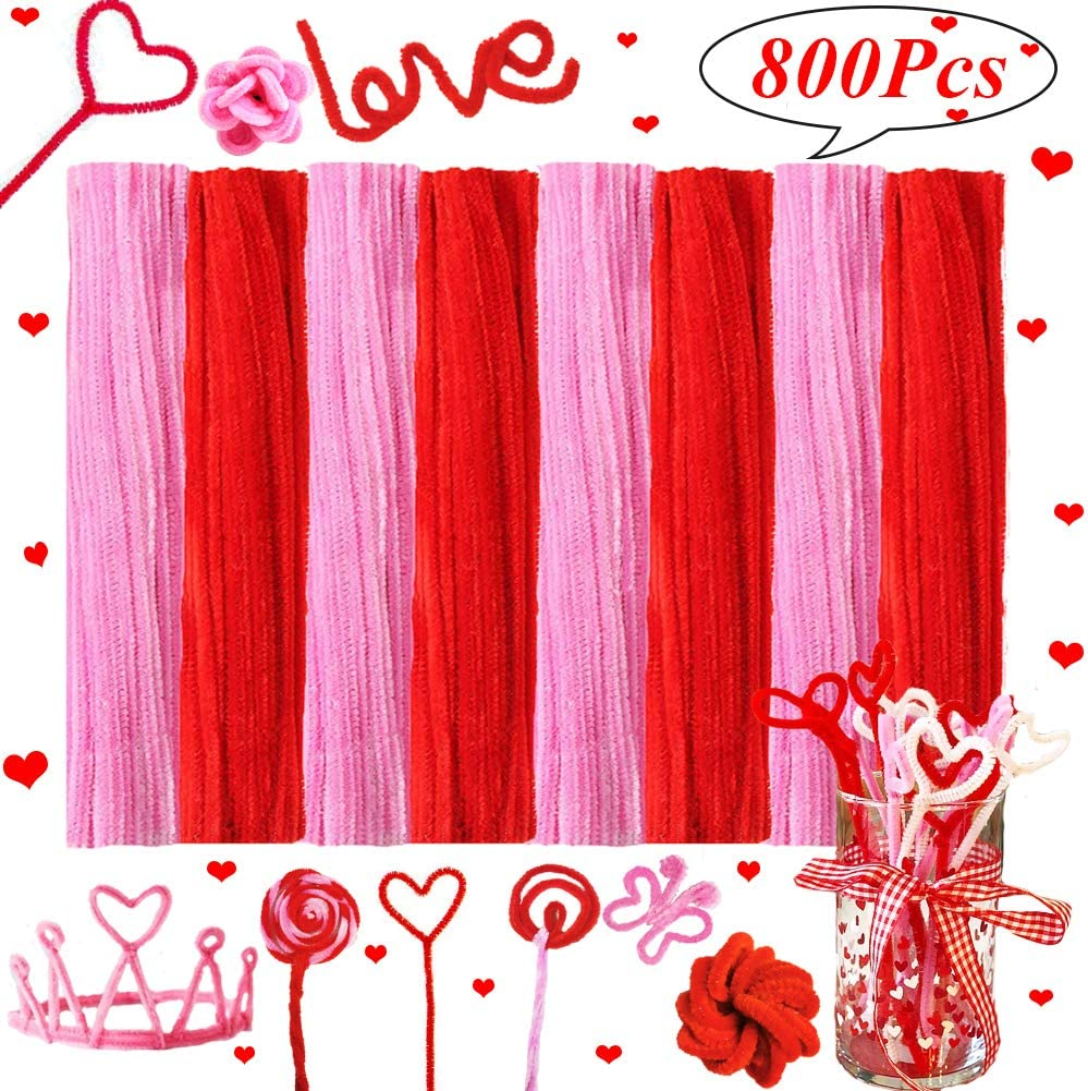 800pcs Valentines Day Craft Pipe Cleaners 800Pcs Chenille Stems for DIY Art Crafts Projects Valentines Day Wedding Decoration