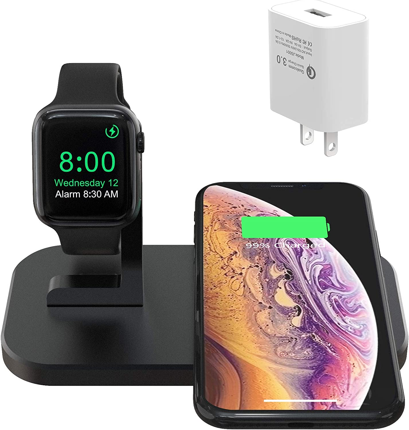 BNCHI 2 in 1 Aluminum Alloy iPhone iwatch Wireless Charging Station Compatible iPhone 11/11 PRO/X/XR/XS/XS MAX/8 Plus/8 and Watch 5/4/3/2/1(with QC3.0 Adapter,No iWatch Cable) (Black)