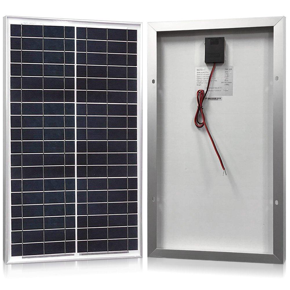 Solar Panel 30 Watt, Powereco 30W Polycrystalline Solar Charger for 12V Battery Charging