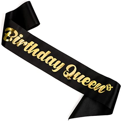 Birthday Princess Gold and Black Party Celebration Accessories Sash 18th 21st 30th 40th 50th