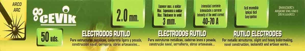 Cevik TECA502.0RU - Electrodos rutilo 2 mm, Caja de 50 unidades: Amazon.es: Bricolaje y herramientas