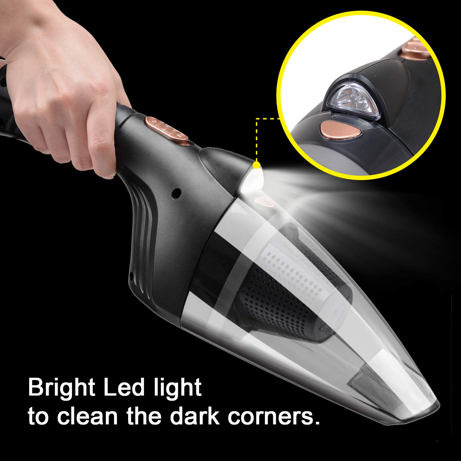 Voilamart Car Vacuum Cleaner, DC 12V w/LED Light 16.4FT Power Corded Portable Handheld Vacuum Cleaner for Car Interior Cleaning, Wet/Dry Mini Lightweight 3 Nozzles