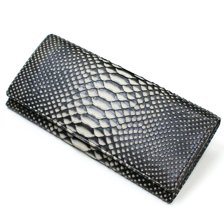 ZE1078-BLACK パイソン革「蛇革」長財布 笹マチ型 無双仕様:ゼブラ:ブラック B00DQ5M8YC