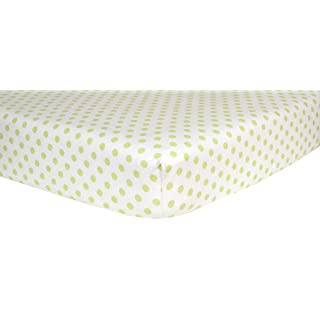 Trend Lab Print Flannel Crib Sheet, Sage Green and White Dot