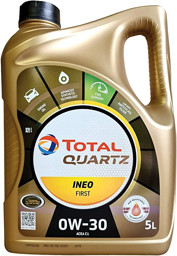 Total Quartz Ineo First 0 W 30 Fully Synthetic Low Saps Car Engine Oil 5 Litre Canister Auto