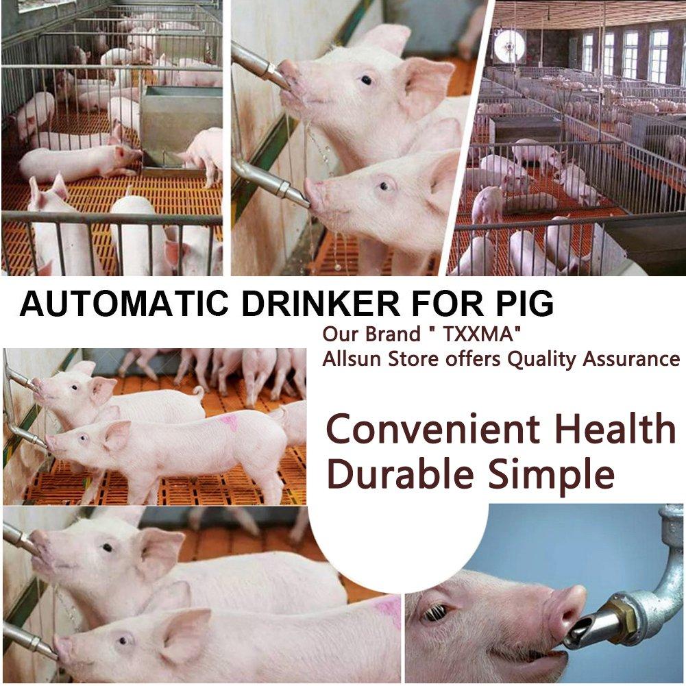 TXXMA 5 Pack Stainless Steel Automatic Pig Nipple Water Drinker Feeder Duck-Billed Waterer for Sows Hog Swine Piglets Drinking