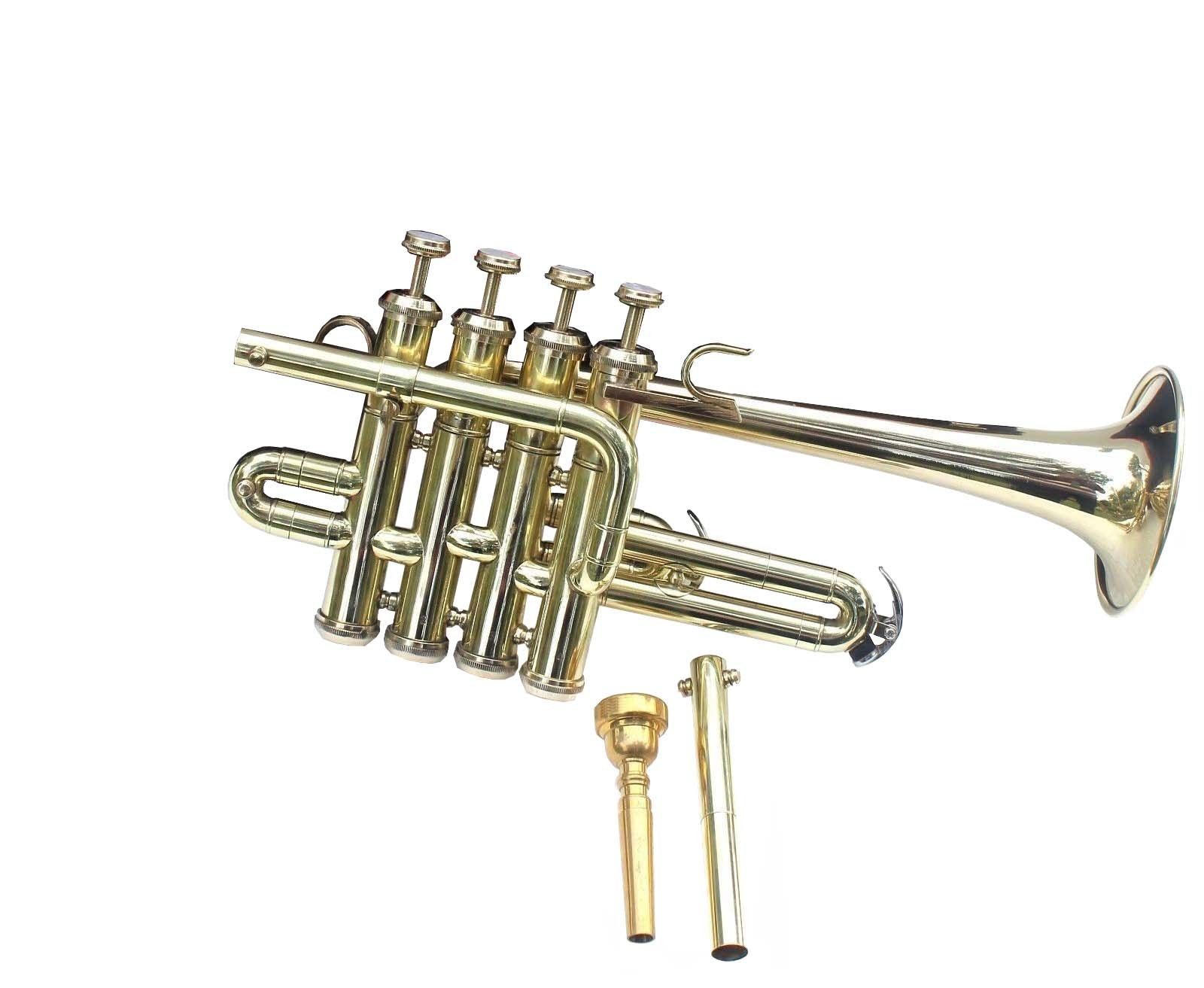 Top Quality Picollo BB Pitch Piccolo Trumpet Brass Finish With Mouth Piece