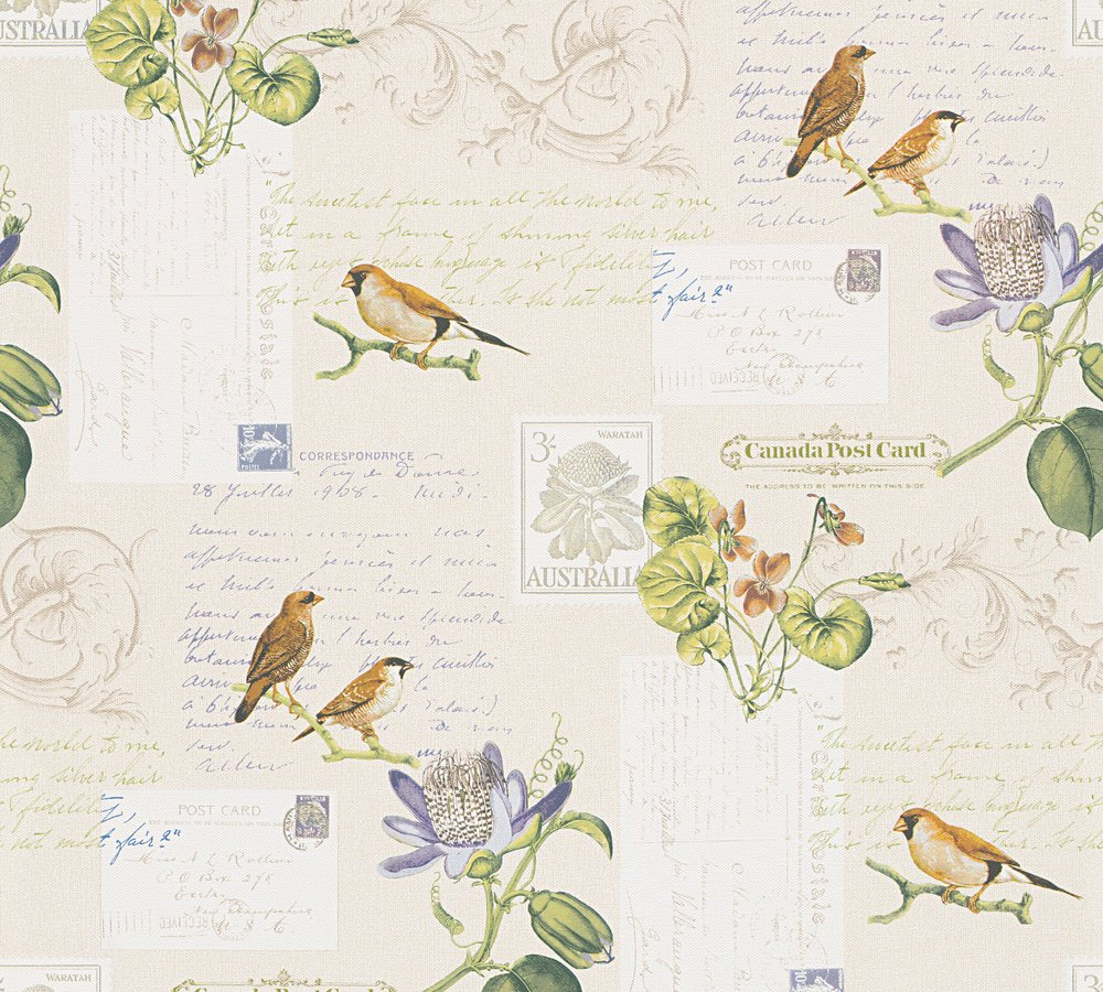 A.S. Création paper wallpaper Dekora Natur 6 10.05 m x 0.53 m multicolored cream green Made in Germany 959482 95948-2