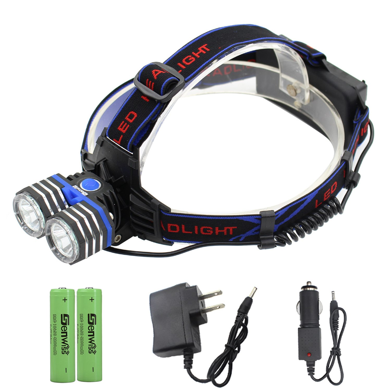 Rechargeable LED Headlamp - Genwiss Head Lamp 2000 Lumen XM-L2 Headlight Outdoor Waterproof Super Head Light with USB Port for Phone Charging as Power Bank,2 x Batteries, Car Charger, Wall Charger