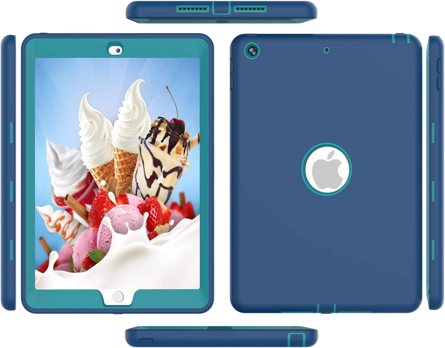 Ipad Case 4th Generation, Ipad 3 Gen Case, High-Impact Shock Absorbent Silicone Hard Plastic Dual Layer Protective Case for IPad 2/3/4 Gen Model A1458 A1430 A1416 Blue Blue