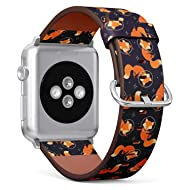 Compatible with Apple Watch 38mm & 40mm Leather Watch Wrist Band Strap Bracelet with Stainless Steel
