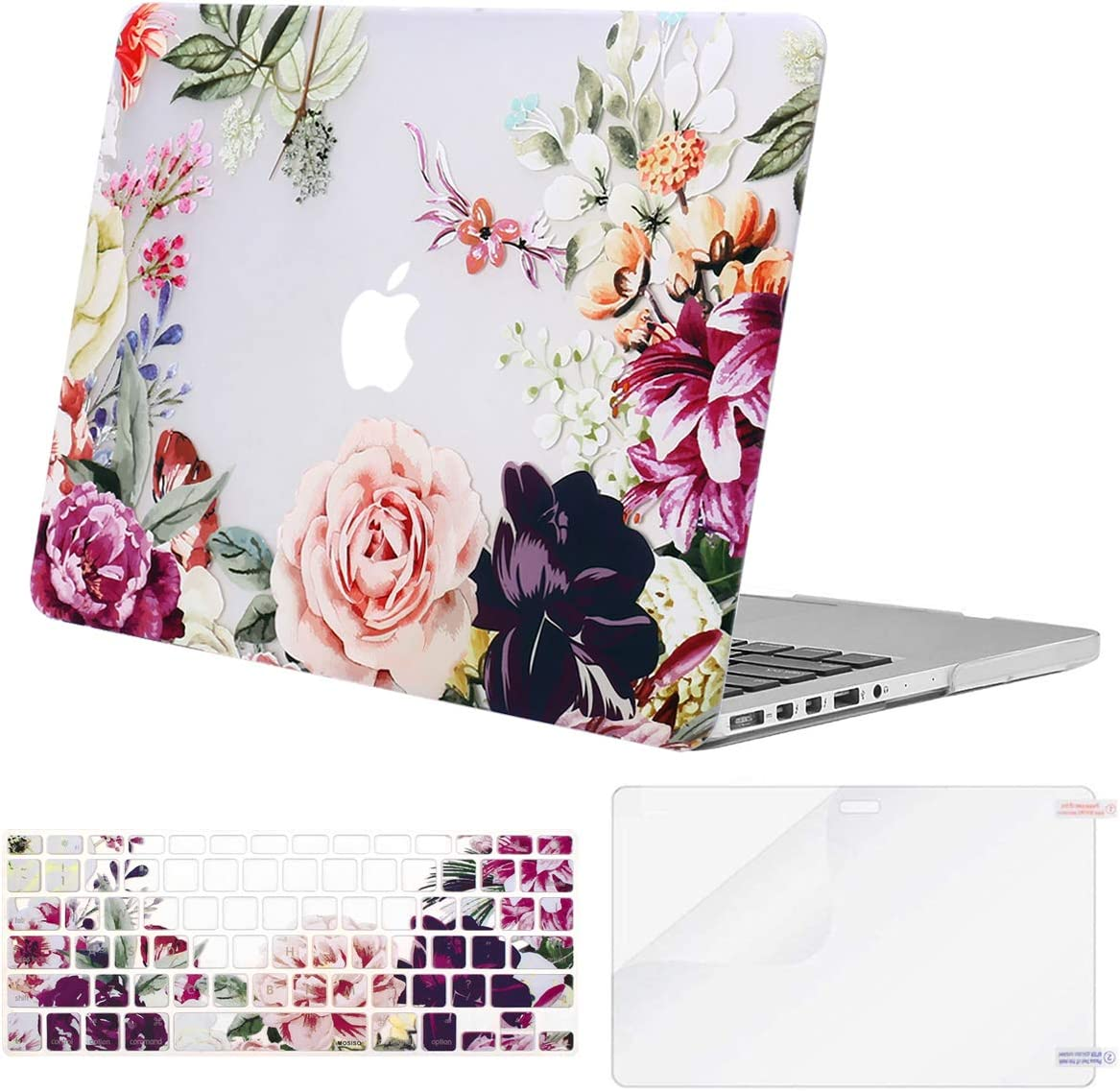 MOSISO MacBook Pro 13 inch Case 2015 2014 2013 end 2012 A1502 A1425, Plastic Rose Leaves Hard Shell Case & Keyboard Cover & Screen Protector Compatible with MacBook Pro Retina 13 inch, Transparent