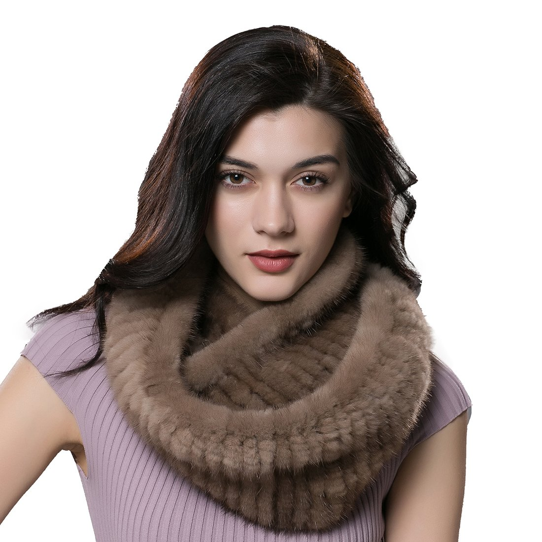 URSFUR Women Fur Knitted Cowl Scarf Real Mink Fur Infinity Scarves Pink Shijiazhuang Starway Imp&Exp Trading Co .Ltd.