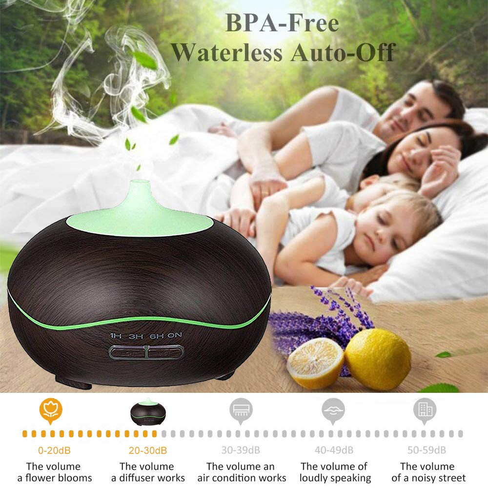 Aroma Essential Oil Diffuser 300ml for Aromatherapy with Adjustable Mist Modes Humidifiers with Auto Shut-Off, Changing Colored LED Lights for Home, Spa, Baby Room, Office(Black)