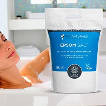 PraNaturals Epsom Salt 5KG, Bath Soak Natural Mineral-Rich, Magnesium,  Sports, Exercise, Relieve Joint Pain, Muscle Sprains, Bruises - COSMOS  Natural,