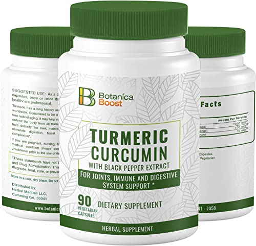 Turmeric Curcumin 650mg Dietary Supplement Capsules with Black Pepper Extract, 100 Natural Anti-Inflammatory for Joint Support and Cardiovascular Health 90 Count