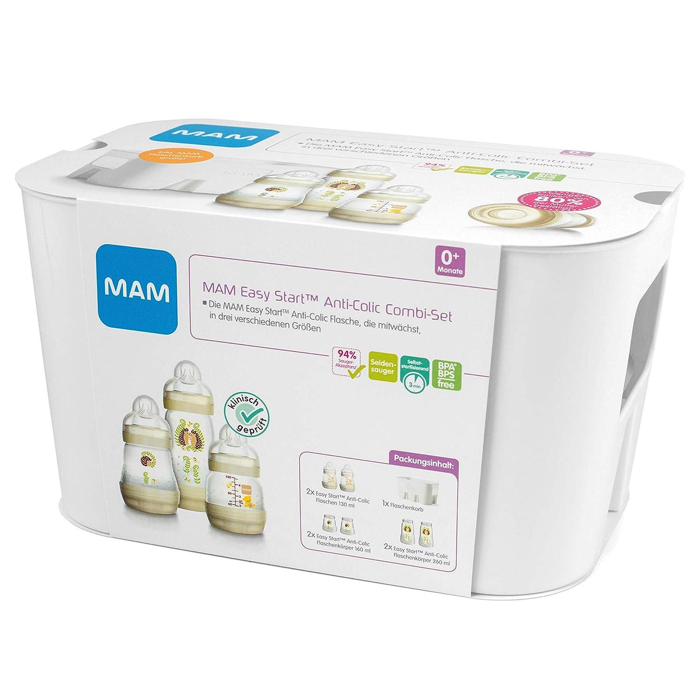 /& Flaschenkorb Babyflaschen-Set mit 6 Flaschen gegen Koliken Naturmotiv Babyausstattung ab der Geburt beige MAM Easy Start Anti-Colic Combi-Set 2 x 130 ml, 160 ml, 260 ml