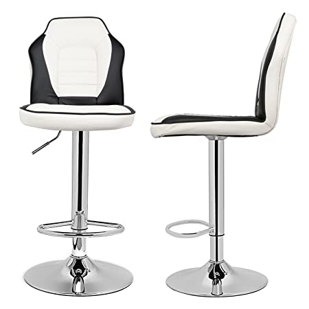 Magshion Extra Comfort Modern Racing Seat Bar Stools Chair Adjustable Swivel Mixed Color Set of 2 White Black