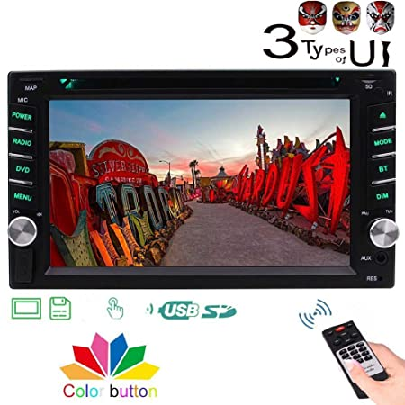 Double 2 DIN Car Stereo DVD Player with 3 Types of Design UI in Dash 6.2 HD Multi-Touch Screen Bluetooth FM AM Autoradio Car Audio 1080P CD Player Support Aux USB SD Color Button Remote Control
