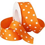 Morex Grosgrain Dot Ribbon, 1-1/2-Inch by 20-Yard Spool, Tangerine with White Dots