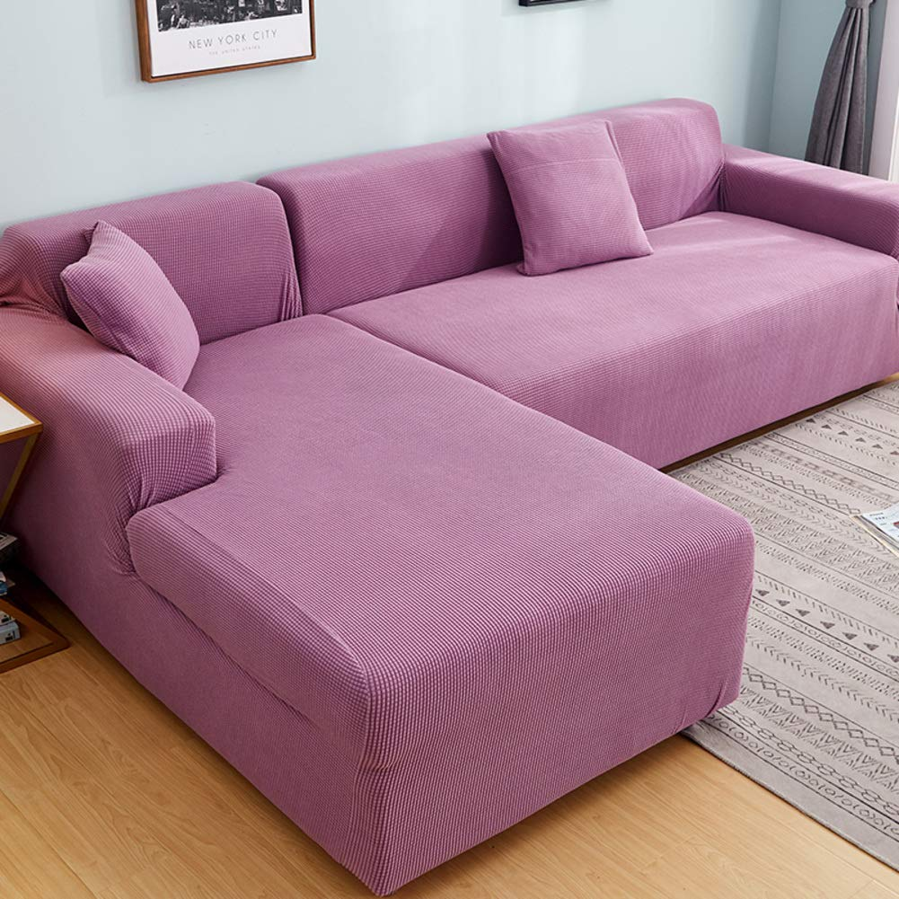 Polyester Stretch Sectional Sofa Slipcovers, Universal Anti-Slip Sofa Covers Furniture Protector for 1 2 3 4 Food L-Shape Couch-Pink (4 Seats+4 Seats)