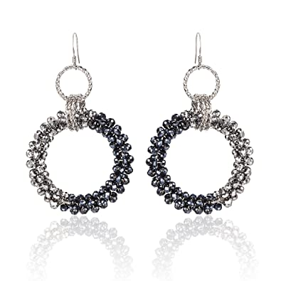e40a5de19c6 Clearance Sale-MARENJA Handmade Jewellery Bohemian Original Black Crystal  Round Midnight Statement Hoop Earrings  Amazon.co.uk  Jewellery