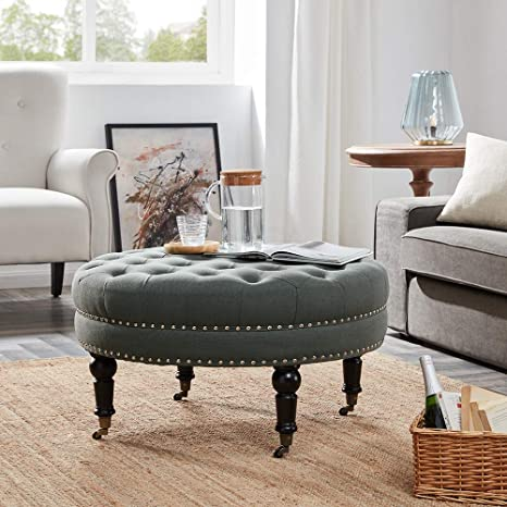 Fine Belleze 33 Inch Round Tufted Linen Ottoman Large Footstool Cocktail With Caster Gray Lamtechconsult Wood Chair Design Ideas Lamtechconsultcom