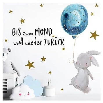 Little Deco Kinder Wandtattoo Hase Zitat Bis Zum Mond I A4 21 X 29