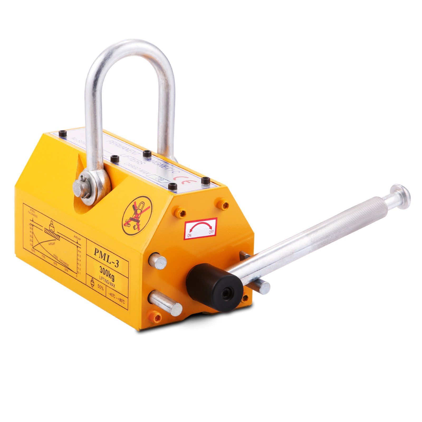 OrangeA 660LBS 300KG Steel Magnet Lifter Neodymium Magnetic Lifting Magnet Magnetic Shop Crane Metal Lifting Hoist (660LBS)