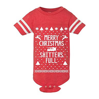 e6dc57504 Amazon.com: Donkey Tees Merry Christmas Shitters Full Funny Ugly Christmas  Sweater Contest Party Baby One Piece: Clothing
