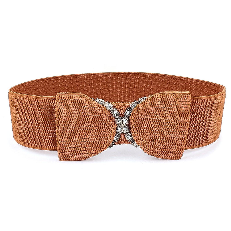 Women Rhinestone Decor Interlocking Buckle Elastic Waist Belt Brown