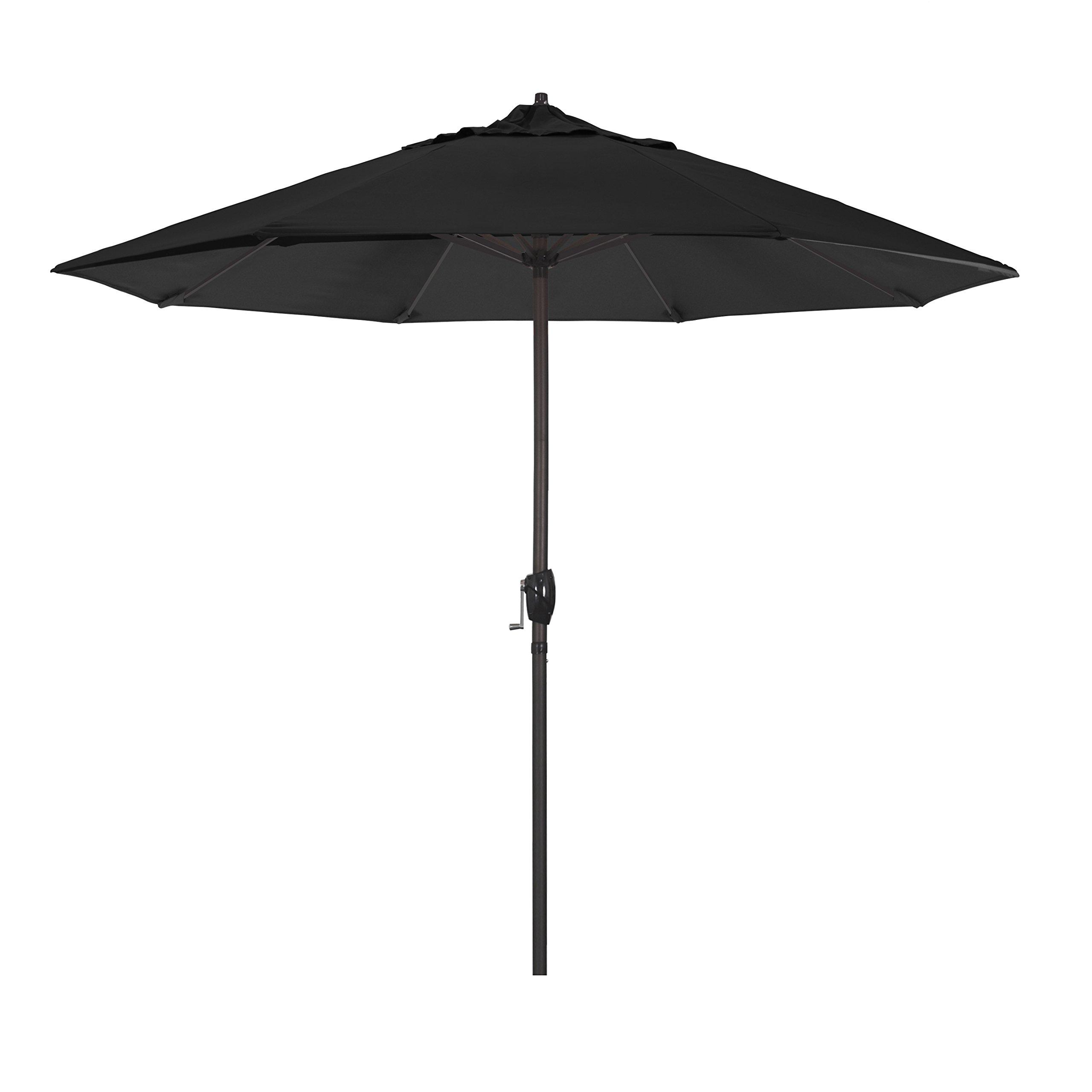 California Umbrella 9' Round Aluminum Market Umbrella, Crank Lift, Auto Tilt, Bronze Pole, Sunbrella Black Fabric