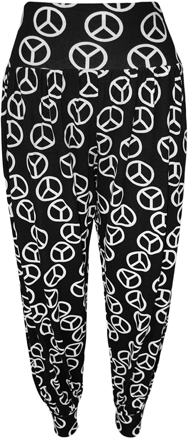Peace, 1X New Womens Plus Size Printed Alibaba Harem Pants Trousers
