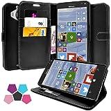 Microsoft Lumia 950 XL Hülle, Profer [Premium Leder Serie] Schutzhülle Premium PU Leder Flip Tasche Case Cover mit Integrierten Kartensteckplätzen und Ständer für Microsoft Lumia 950 XL (Leder-Schwarz)