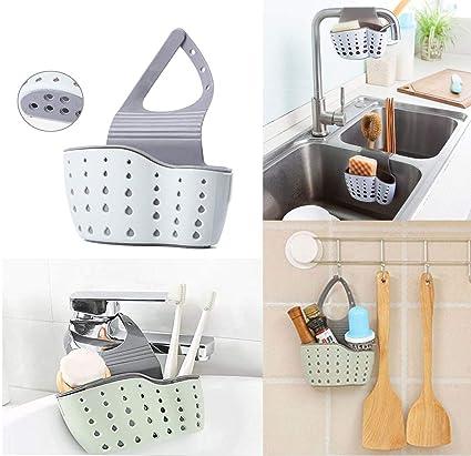 Porta Spugne Cucina, Organizer per Lavello Cestino Appeso da Rubinetto  Portaoggetti per Cucina, per Lavello Cestino Sink Shelving Bag for ...