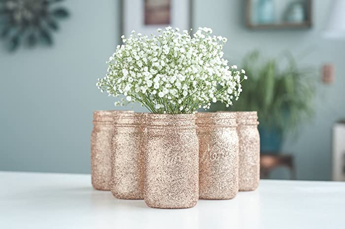 Amazon 6 Rose Gold Wedding Centerpieces Vases Bulk Glitter