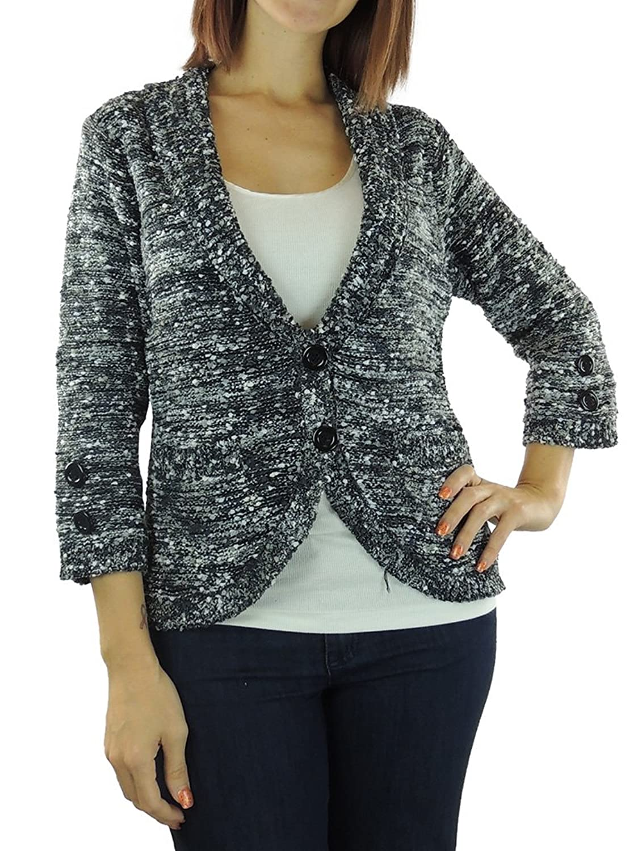 Eci Womens Shawl Collar 2-Button 3/4 Sleeve Cardigan Sweater