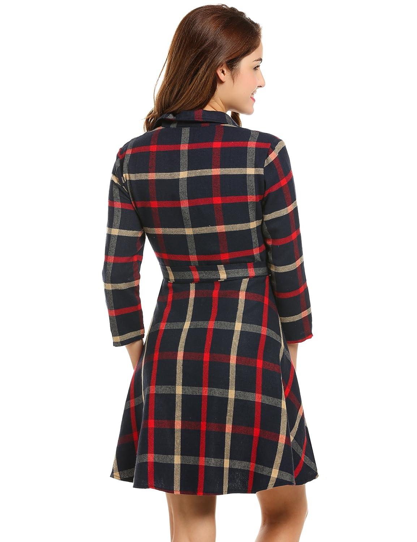 Sexyfree Womens Plaid Dress Lapel 3//4 Sleeve Casual A-line Swing Shirt Dress with Belt