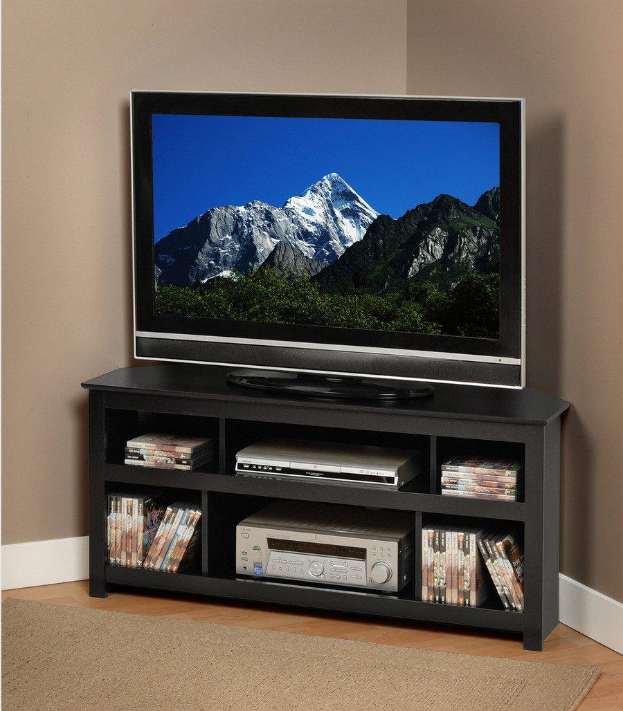Lcd Tv Furniture Amazoncom Black Vasari Corner Flat Panel Plasma Lcd Tv Console