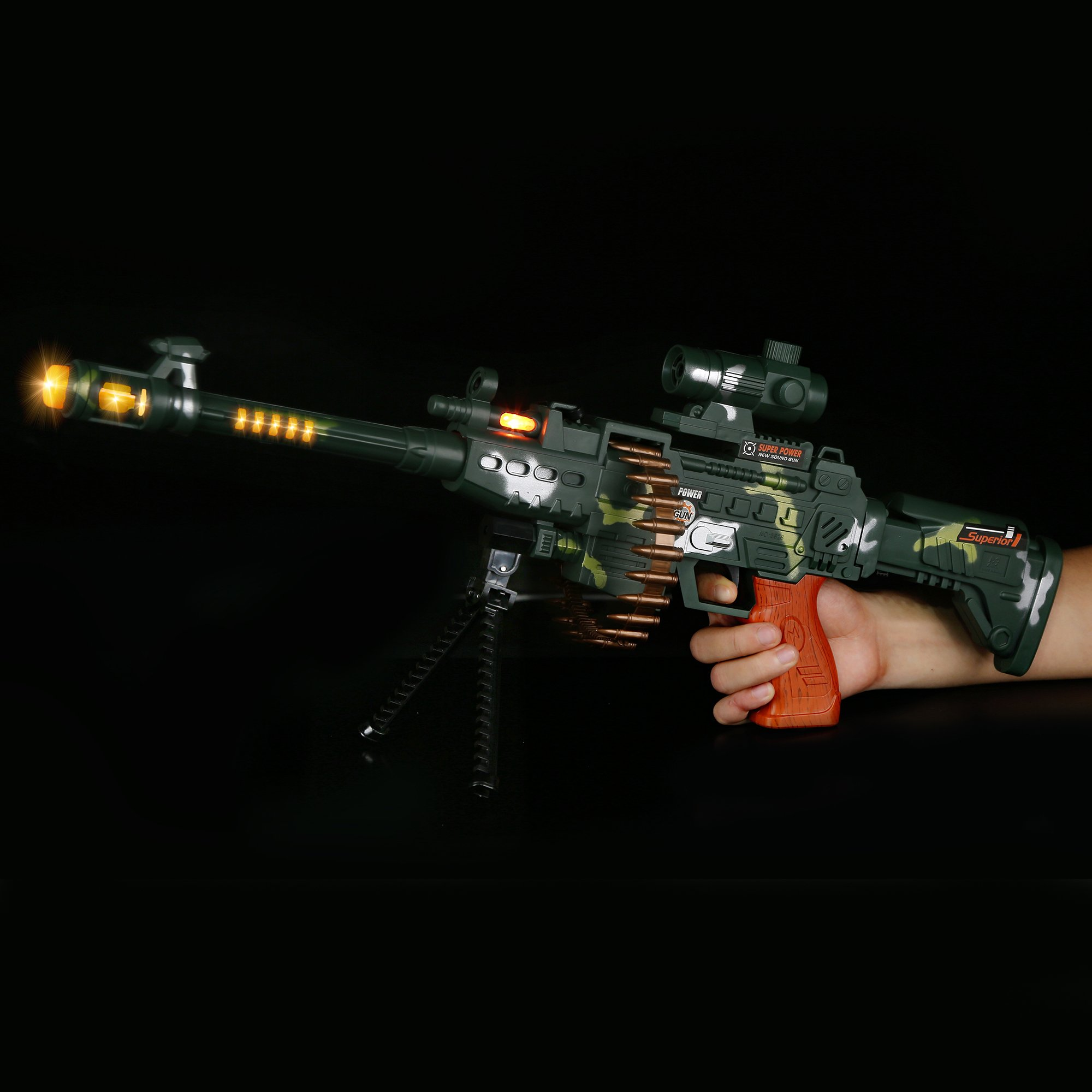 Fun Central AT754 LED Camo Sniper Rifle, LED Light Up Rifle, LED Camo Sniper Rifle, Kids LED Rifle - for Party Favors, Gifts, Prizes, Rewards, Giveaways