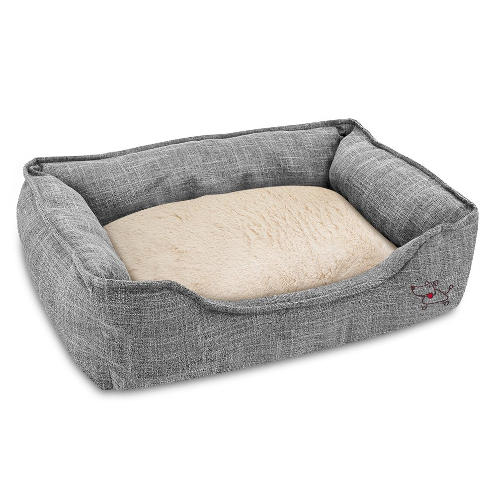 Best Pet Supplies – Breathable Linen Pet Bed for Summer with Comfortable Padding Square Medium Cozy Cuddler for Dogs and Cats 24 x 19 x 7