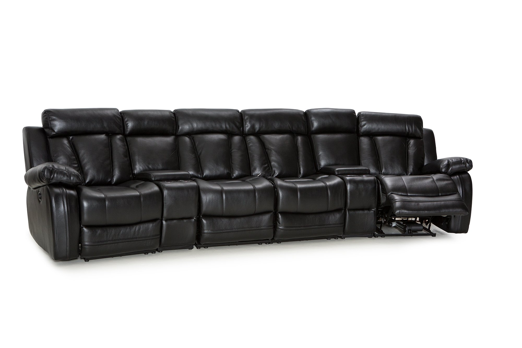 Klaussner Atticus Home Theater Seating Power Reclinable Bonded Leather Row of 4 Loveseat with Storage and Cupholders Black