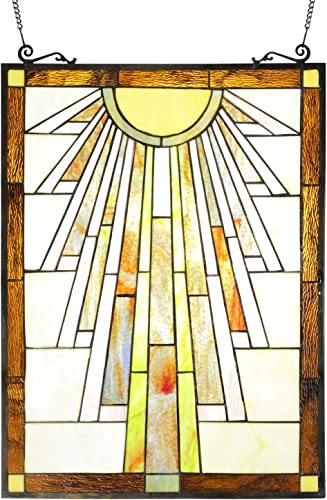 ELUZE Tiffany Style Mission Stained Glass Panels 23.5 inch Tall 17.5 inch Wide Decorative Window Hanging for The Wall or Windows Large Vertical Decoration