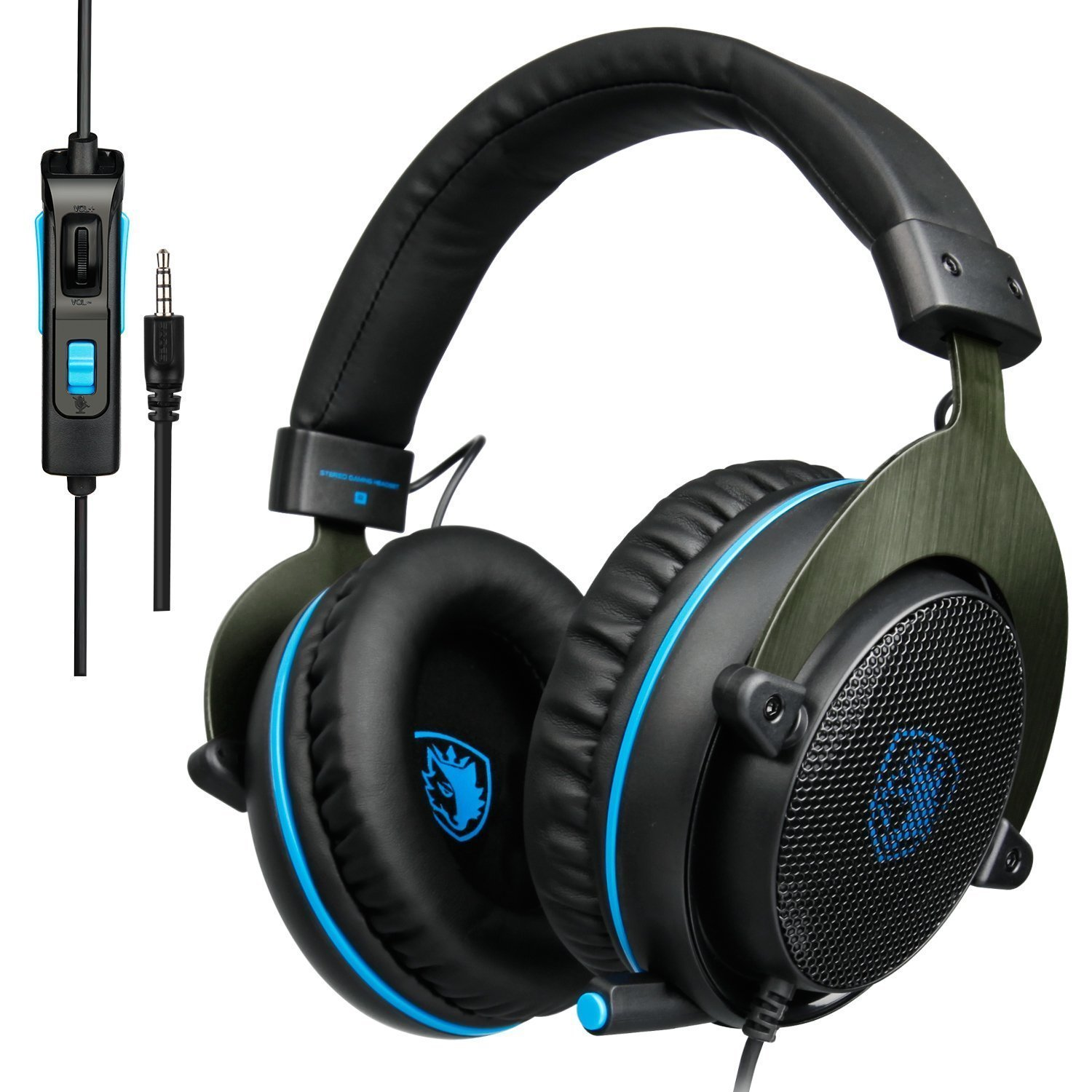 SADES Newest R3 Over-Ear Noise-isolating Stereo Gaming Headset Headband Headphones with Mic Volume-Control Deep Bass for PC Computers/Mac/Laptop/New Xbox One/PS4/Tablet/Phones-Black Blue